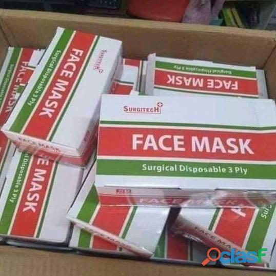 Mascara cirurgica descartavel tripla caixa com 50 un branca