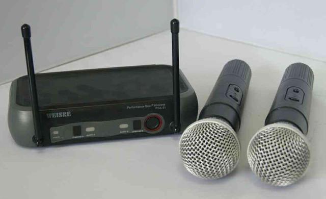 Kit microfone sem fio duplo weisre no pgx-51 uhf
