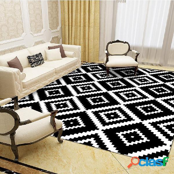 Preto e branco geométrico padrão tapetes de flanela de absorção de água tapete antiderrapante para banheiro tapete de po