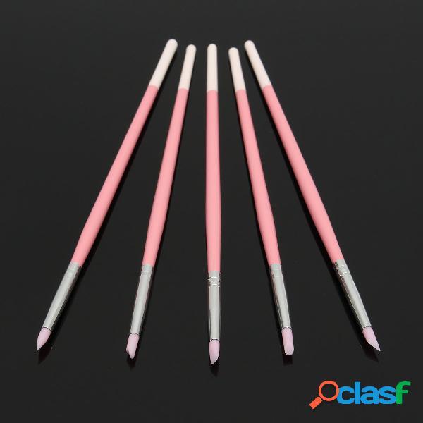 5pcs / kit silica gel nail pen manicure gravação ferramentas ocultas