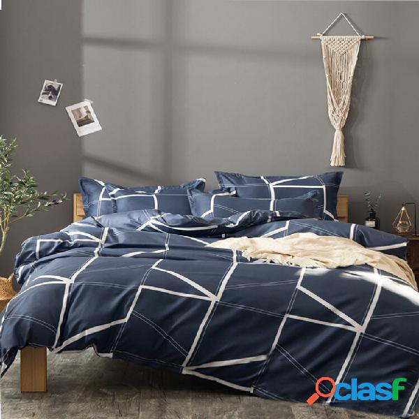 Conjunto de roupa de cama confortável de linho geométrico de estilo simples 2/3 pcs travesseiro de colcha