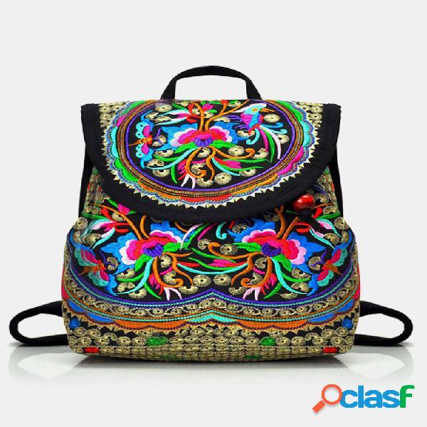 Mochila vintage bordada feminina bolsa de ombro étnico de viagem bolsa