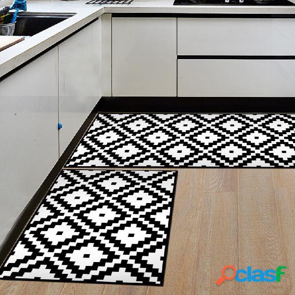 Preto e branco geométrico padrão soft cobertor de porta antiderrapante tapete tapete de cozinha tapete interno decoração