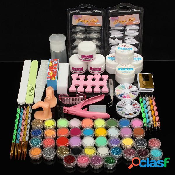 Conjunto de equipamento professional com gel de tinta unhas de acrílico de pó brilho