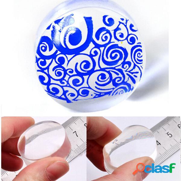Silicone transparente unhas stamper de arte que carimba o modelo com raspador de tampa
