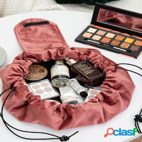 Velvet cosmetic bolsa armazenamento bolsa lazy cosmetic bolsa viagem portátil armazenamento de grande capacidade bolsa