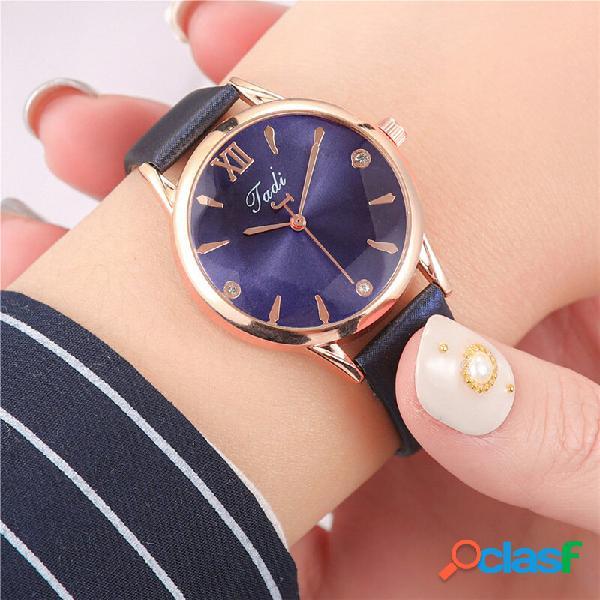 Moda mulheres elegantes relógios couro banda geométrico design relógio de quartzo com número romano
