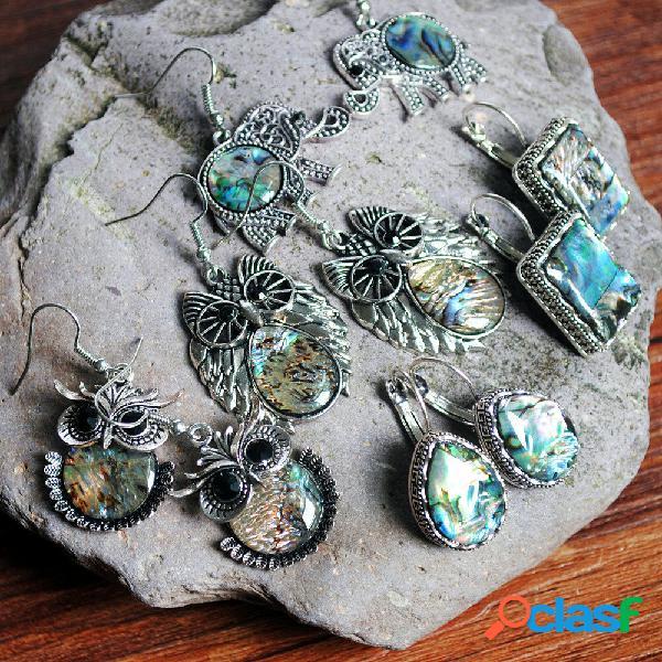 Concha de animal retro geométrico coruja elefante brincos pedra preciosa irregular de metal gota de água brincos
