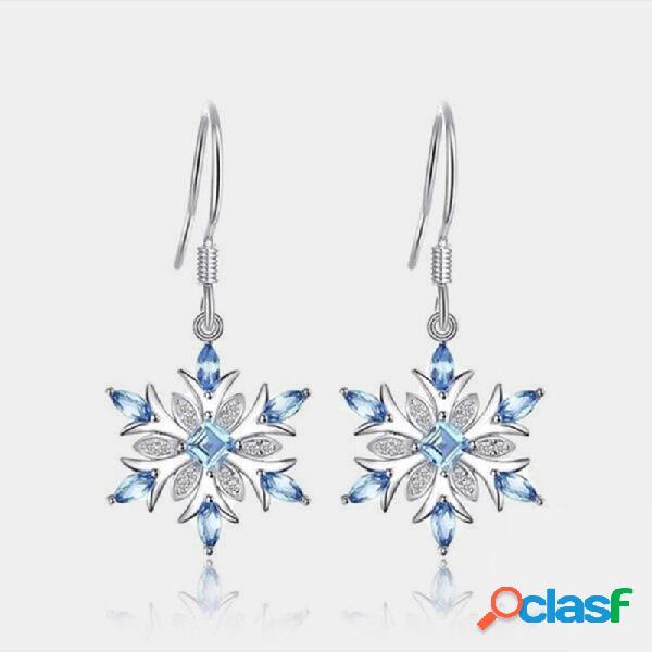 Flor de topázio azul claro brincos gota de floco de neve de strass geométrico brincos