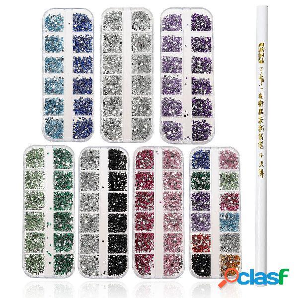 3000pcs 2mm round glitter rhinestone bead diamand gems manicure with wax picker pencil