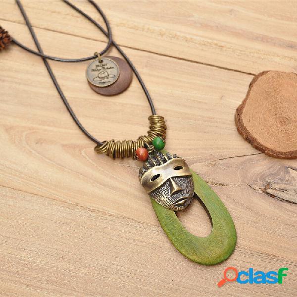 Retro oval madeira pingente cera corda colar geométrico máscara cadeia camisola colar multicamadas