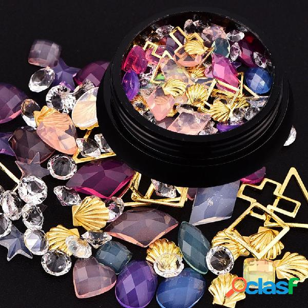 Dancingnail colorful nail decoration beads mixing pearl shell rhinestone manicure ornaments