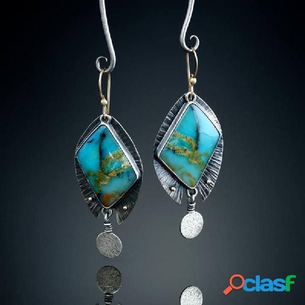 Diamante geométrico vintage turquesa gota brincos metal gota de água mármore irregular brincos