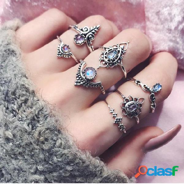 Kit de anel de pedras preciosas oco geométrico do vintage gota de água anel de cristal jóias étnicas