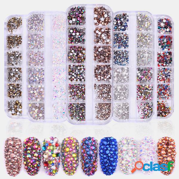 12 grades / caixa alta prata plana diamante unhas arte decoração 3d brilho ab cristal strass mulheres jóias