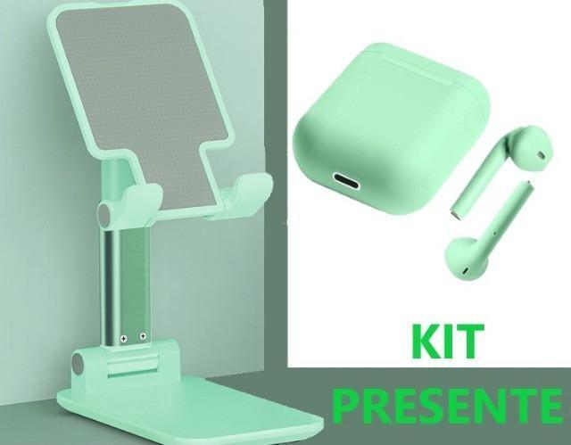 Kit fone sem fio wireless e suporte p/ celular cor verde