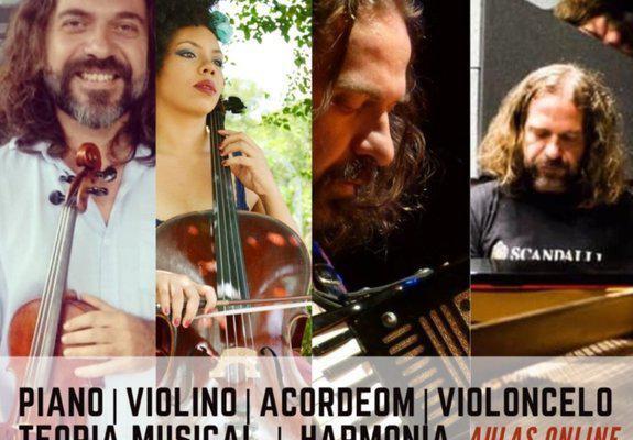 Aulas de música (piano, violino, acordeom e violoncelo) na