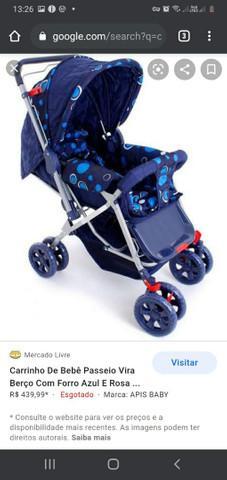 Carrinho de bebê reversível azul