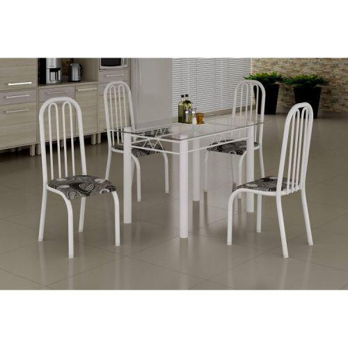 Conjunto mesa com tampo vidro e 4 cadeiras madmelos