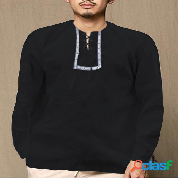 Incerun camiseta masculina bordado étnico com nó em volta do pescoço manga comprida