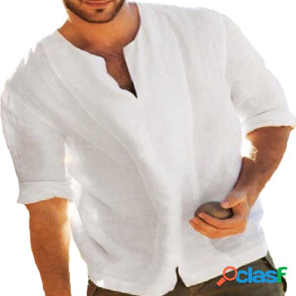 Incerun camiseta masculina de linho de algodão étnica chinesa 3/4 de manga curta com decote em v