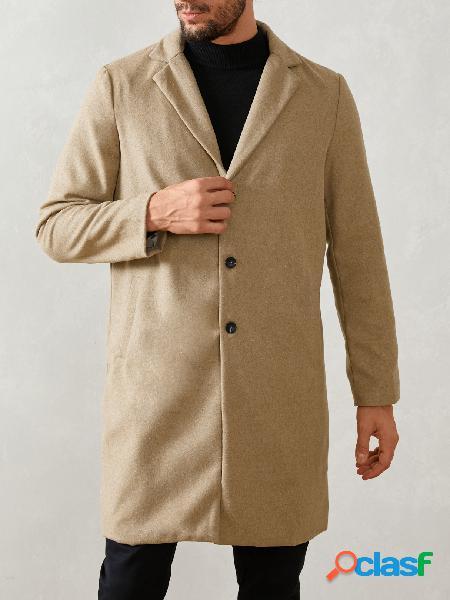 Incerun casaco masculino estilo britânico moda inverno cor sólida manga comprida