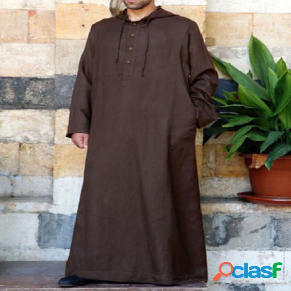 Incerun manto étnico masculino solto de manga comprida vintage casual com capuz