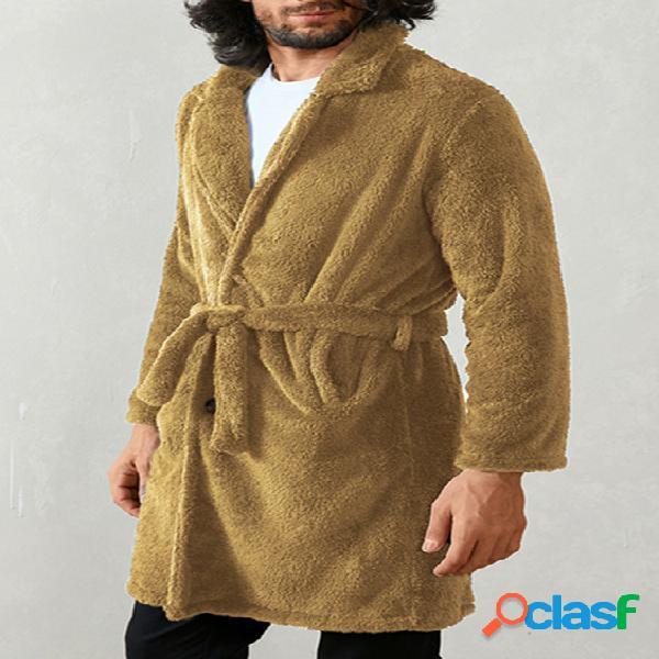 Incerun casaco frontal masculino de pele fofa de inverno com botão de manga comprida
