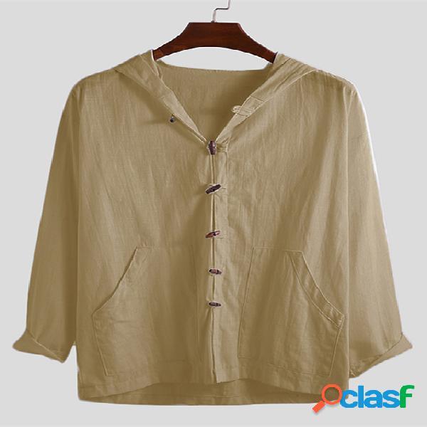 Incerun casaco masculino com capuz fino vintage de manga comprida de algodão e linho