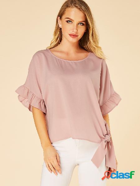Rosa camiseta de gola redonda meia manga com borda de alface
