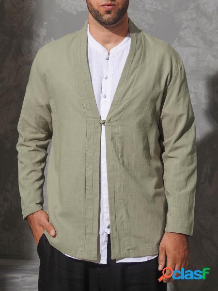 Casaco masculino casual verde liso com botão na frente do casaco