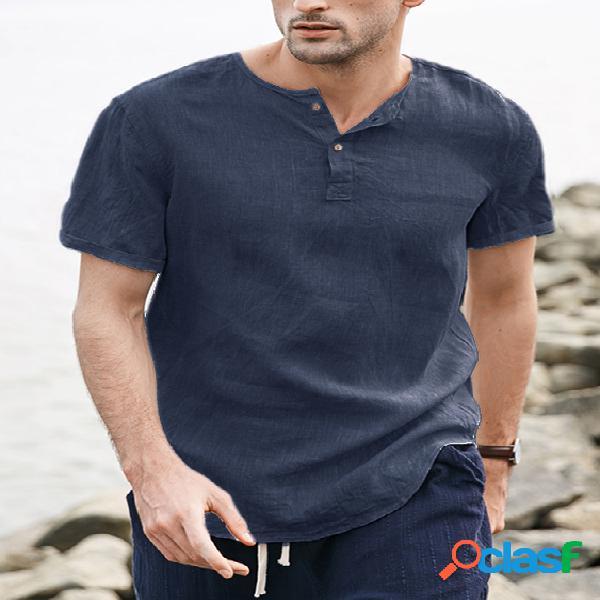 Incerun camiseta masculina verão algodão linho com botão de manga curta