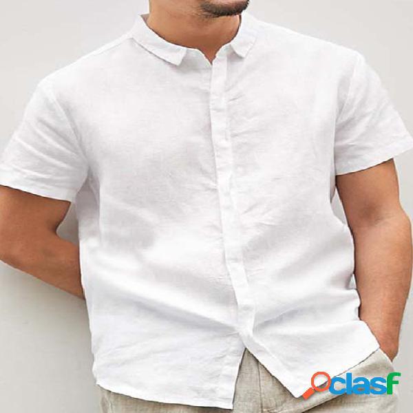 Incerun homens linho de algodão casual solto vovô camisa manga curta camisa