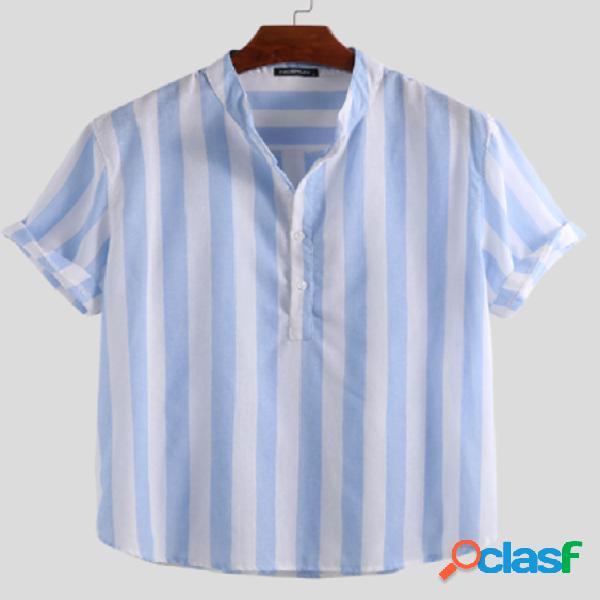 Incerun homens vintage stripe linen manga curta camisa botão casual solto camisa
