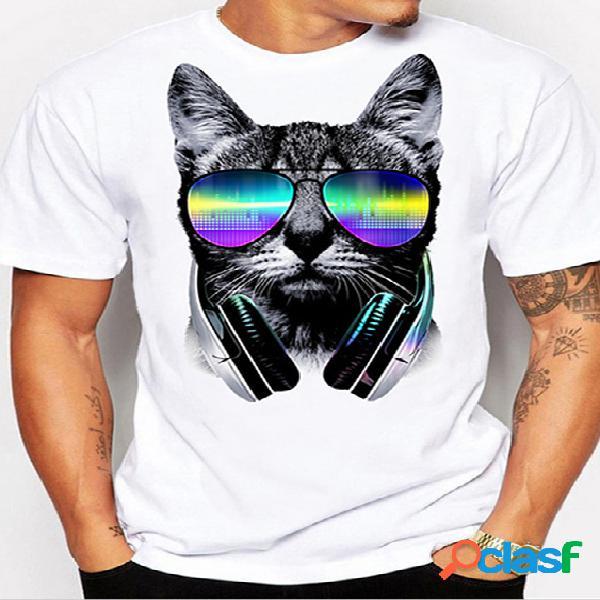 Masculino verão casual óculos gato animal cartoon camiseta branca