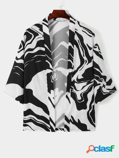 Cardigan casual masculino carta zebra stripe all over print