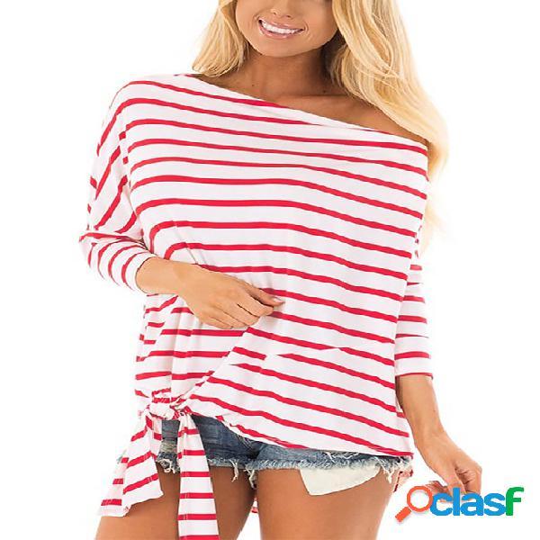 Auto-amarração vermelha design listra one ombro design blusas de manga comprida