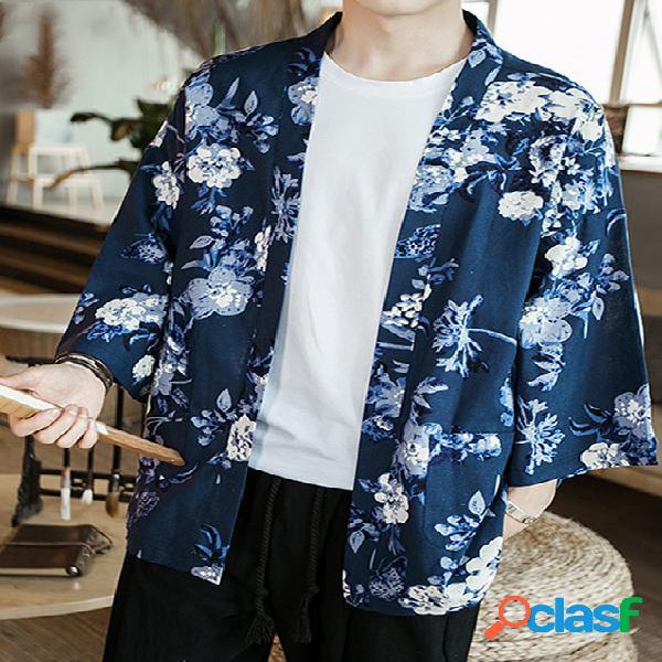 Incerun homens casuais retro algodão japonês impressão em toda a impressão protetor solar casaco cardigan