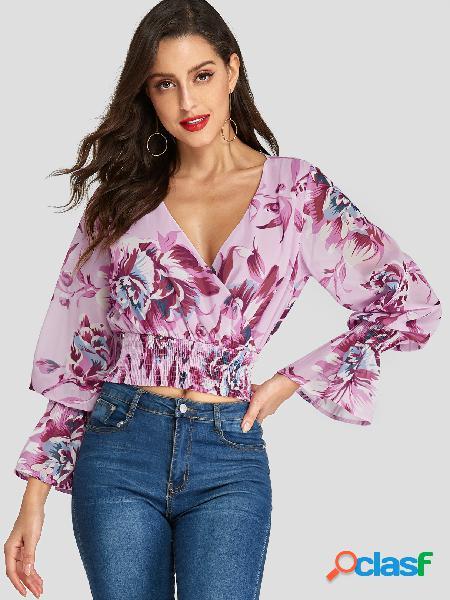 Rosa crossed front design blusa aleatória com estampa floral com decote em v profundo