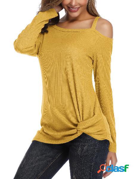 Yoins blusa de malha de manga comprida amarela torcida de ombro frio