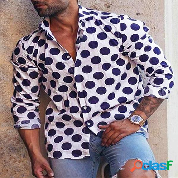 Incerun homens retro dot de manga comprida com botão camisa