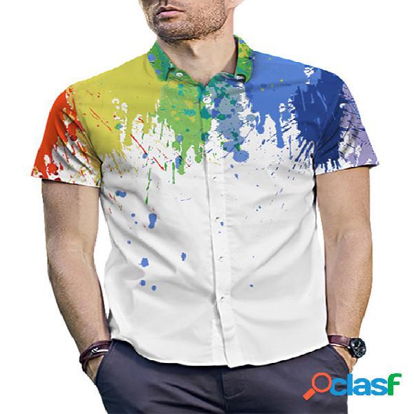 Incerun men summer colorful splatter paint print casual manga curta camisa