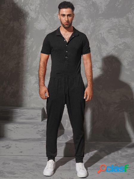 Incerun yoins basics masculino verão casual manga curta macacões com cordão