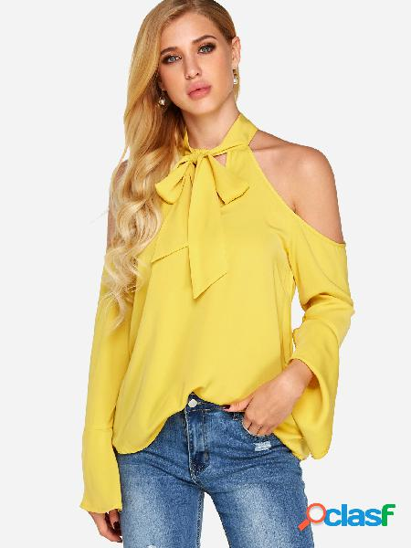 Blusas de manga comprida com halter liso amarelo recortado arco-íris