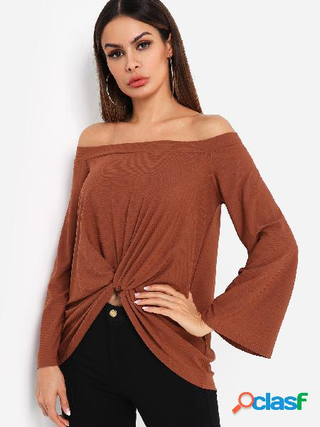 Marrom off shoulder bell sleeves knot front tee