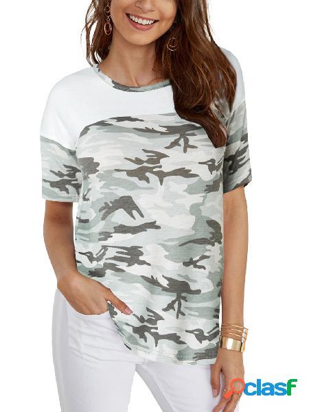 Yoins camiseta de mangas curtas em torno do pescoço branco camo