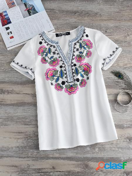 Yoins blusa de manga curta com estampa floral bege com decote em v