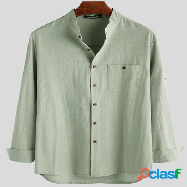 Incerun homens casual solto manga longa com botão camisa