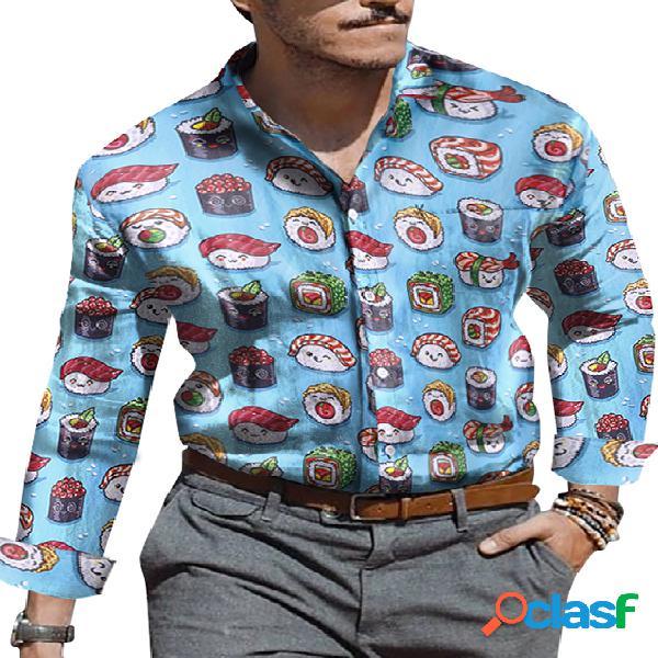 Incerun homens dos desenhos animados impresso bolso férias manga comprida casual camisa