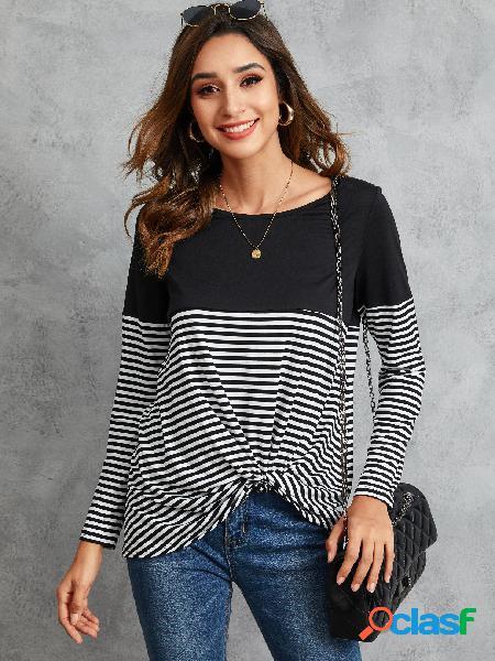 Yoins black twist stripe patchwork camiseta de mangas compridas em volta do pescoço